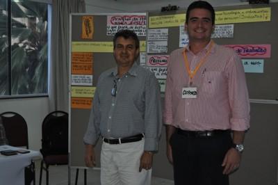Presidente  do Senar, José Hilton Coelho e o coordenador de projetos do Senar Central, Clodoaldo Martins durante Seminário.