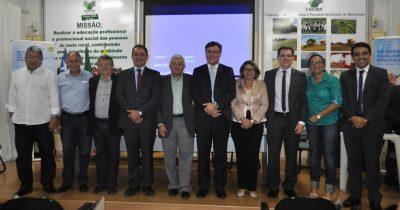 Raimundo Coelho, Émerson Galvão, ambos da Faema, ao lado do superintendente estadual do BB, Ingo Kombarg Júnior e convidados.